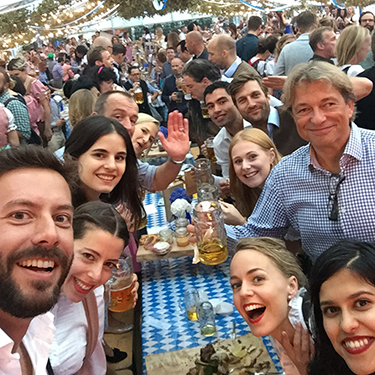 Charlotte and her team celebrate at Oktoberfest