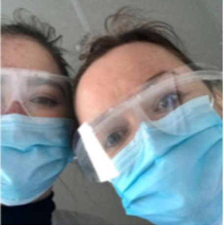 Imogen and her mum in PPE